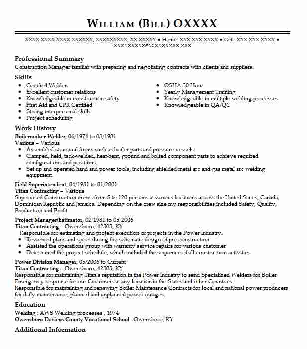 boilermaker welder resume sample
