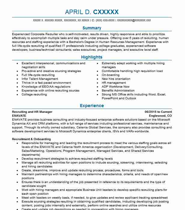 hr recruiting manager resume example advanced