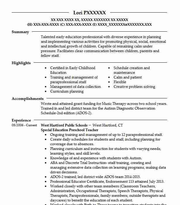Special Education Preschool Teacher West Hartford Public Schools