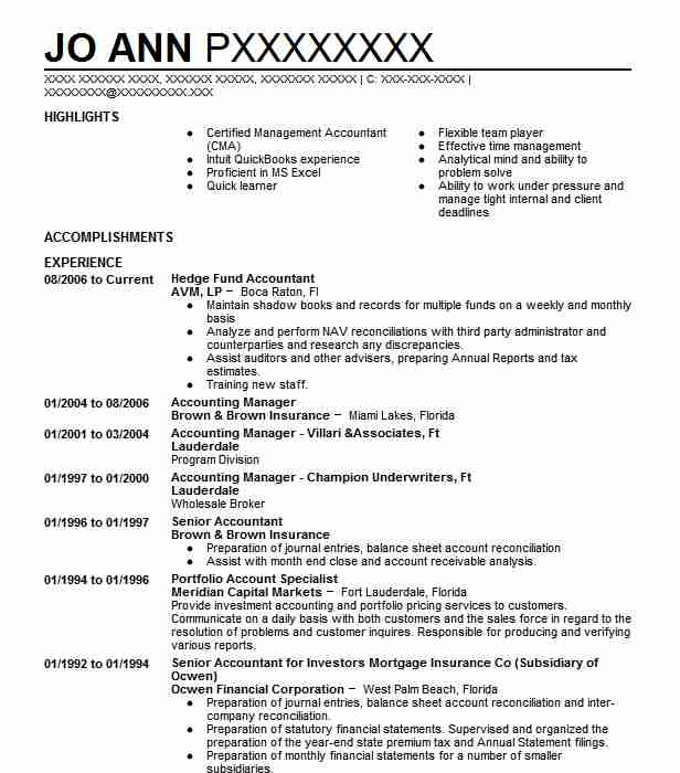 hedge fund accountant resume sample