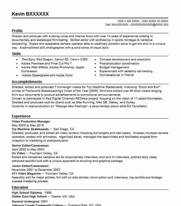 video production manager resume sample