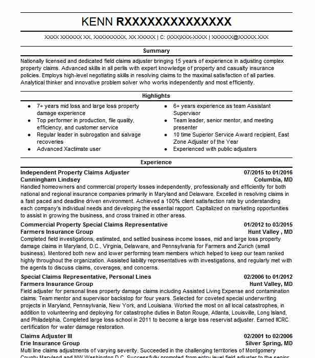 Independent Adjuster Citizens MCM Resume Example Lozano