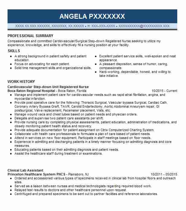Step Down Unit Registered Nurse Resume Example Baxter