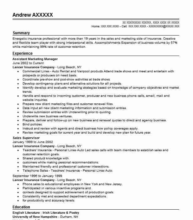 assistant marketing manager resume sample