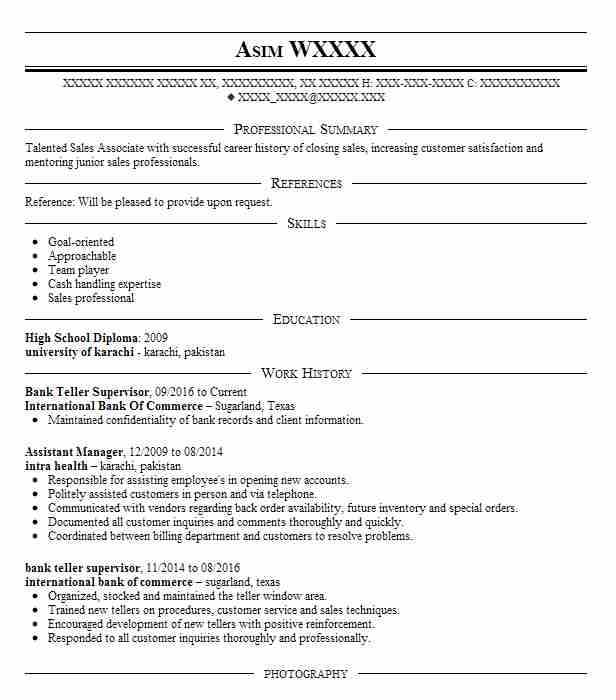 Bank Teller Supervisor Resume Sample Supervisor Resumes
