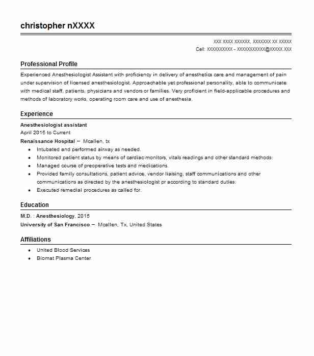 anesthesiologist assistant resume sample