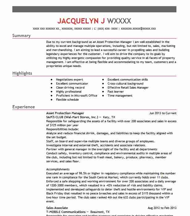 asset protection manager resume sample