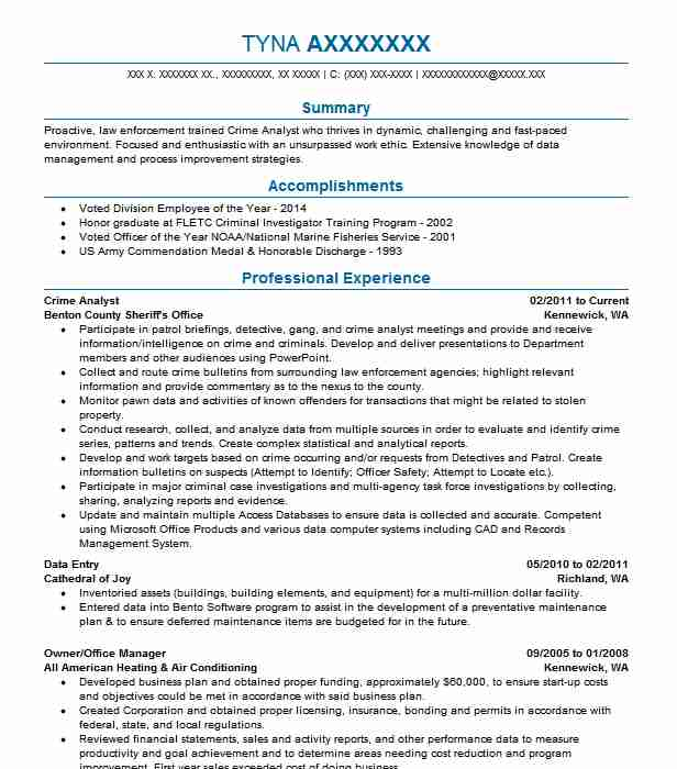 Crime Analyst Resume Sample | Analyst Resumes | LiveCareer