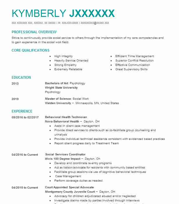 behavioral health technician resume sample