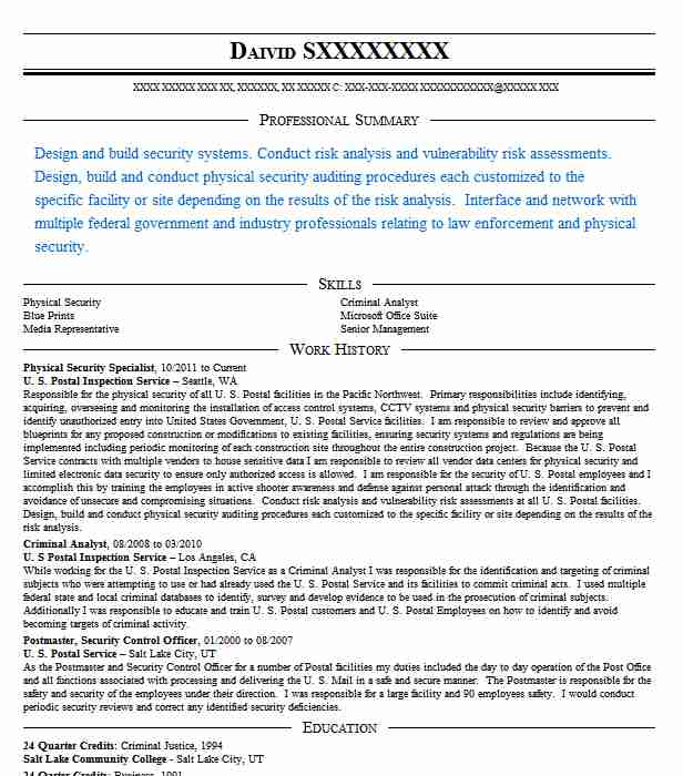 Physical Security Resume