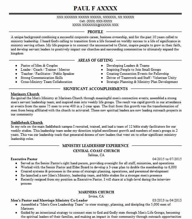 executive pastor resume example without walls christan