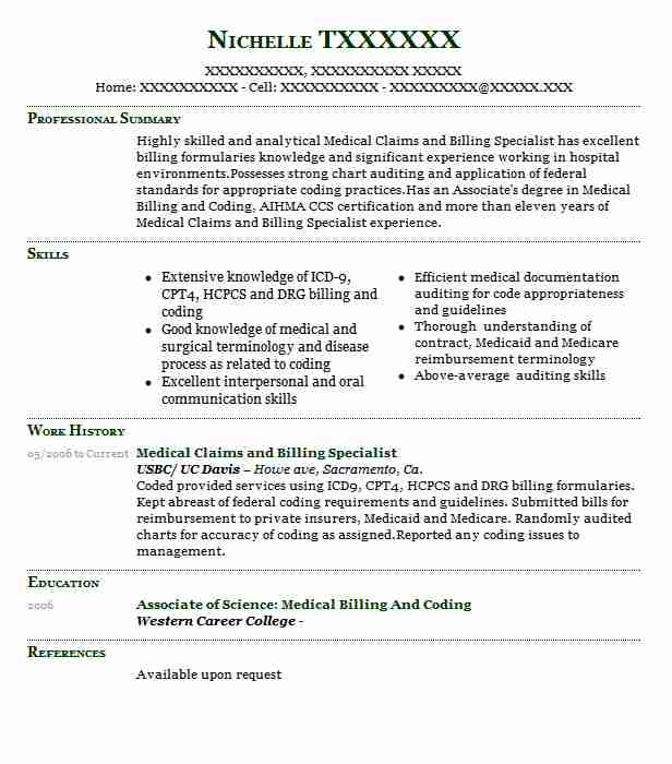medical claims and billing specialist resume sample