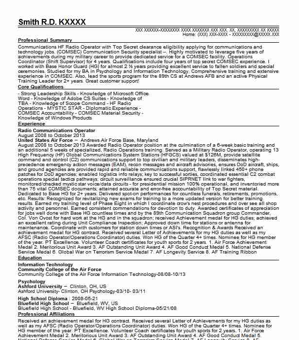 94e radio communications security repairer resume example united states army