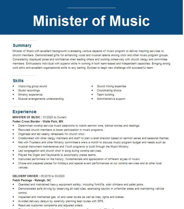minister of music resume example shiloh baptist church