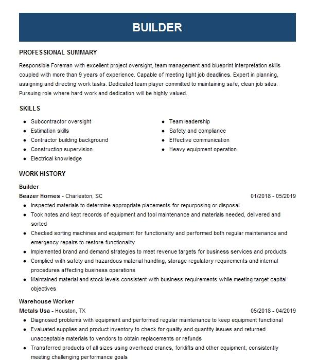 Builder Resume Example Tuff Shed
