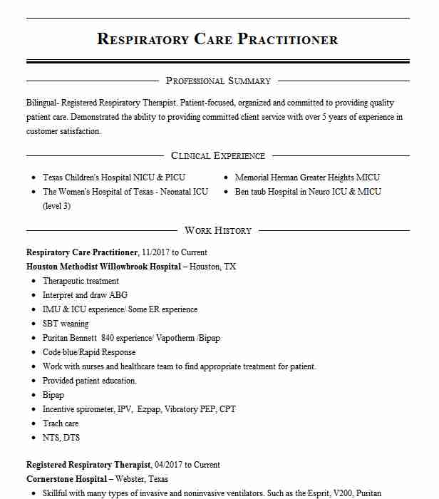 Respiratory Care Practitioner Resume Sample Livecareer