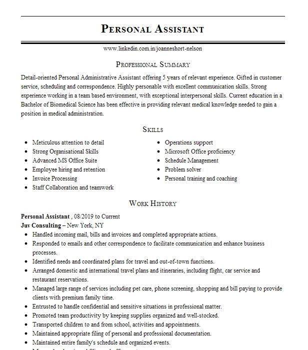personal assistant resume example stoneybrook producations