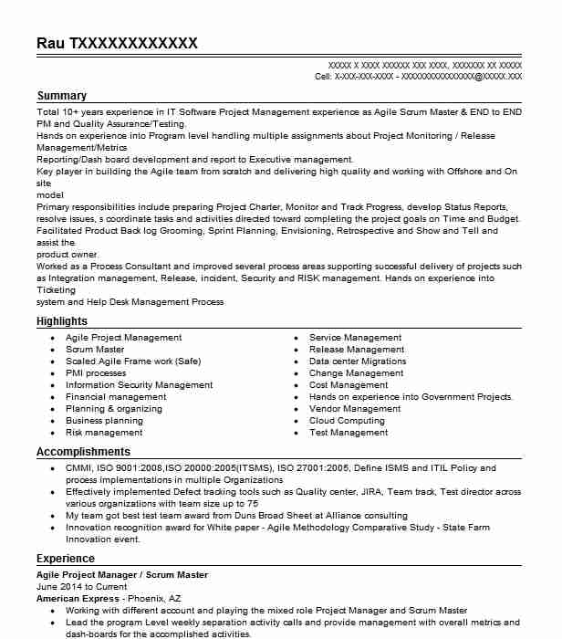 Project Manager Agile Scrum Master Product Owner Resume
