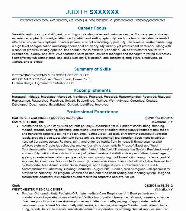 clinical laboratory office coordinator resume example