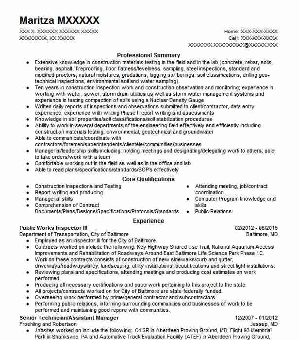 public health inspector resume example nyc department of