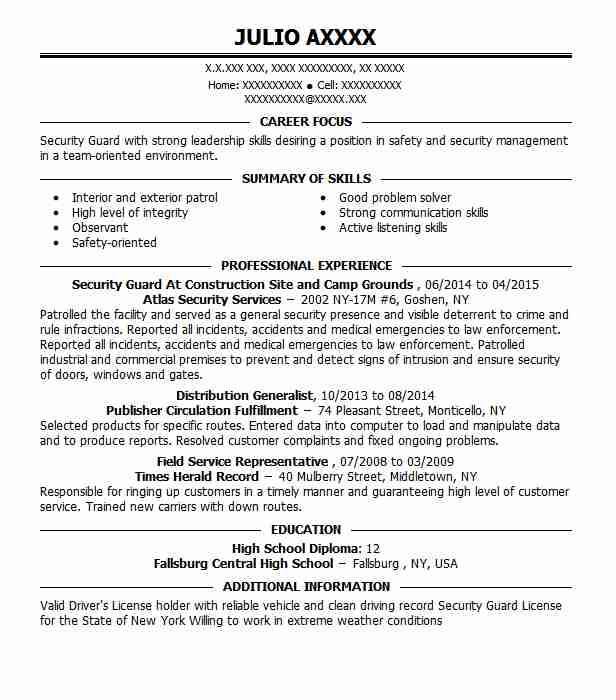 Construction Site Security Officer Resume Example D. Family ...