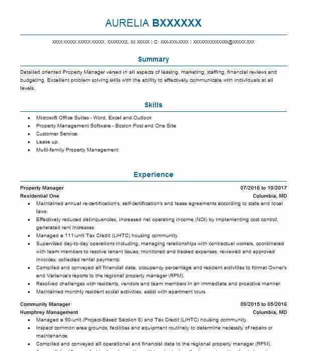 property management resume examples real estate resumes livecareer