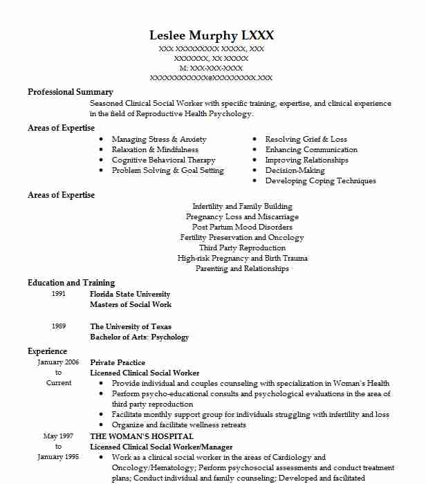 licensed clinical social worker resume example family