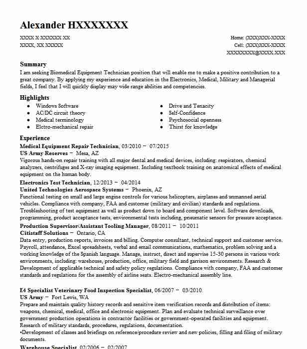 Customer Service Durable Medical Equipment Resume Example