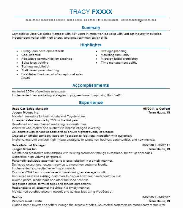 used car sales manager resume sample