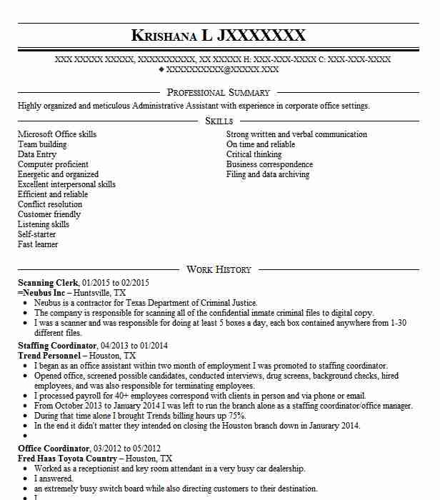 scanning clerk resume sample
