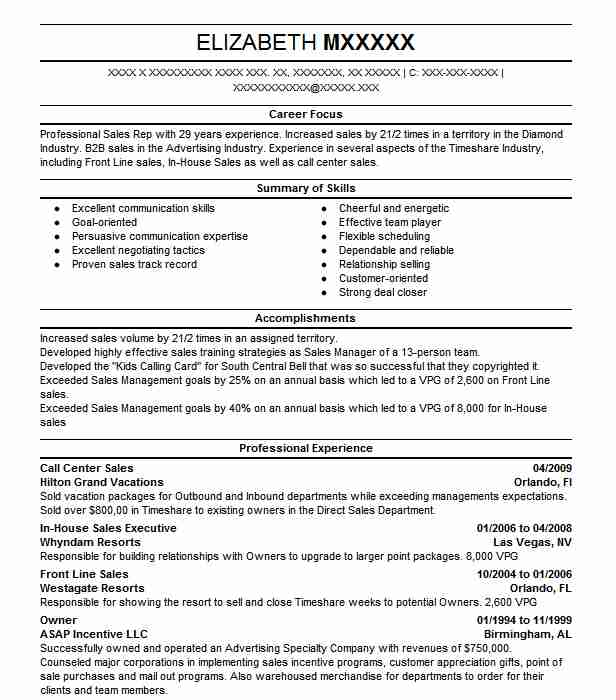 call center sales resume sample