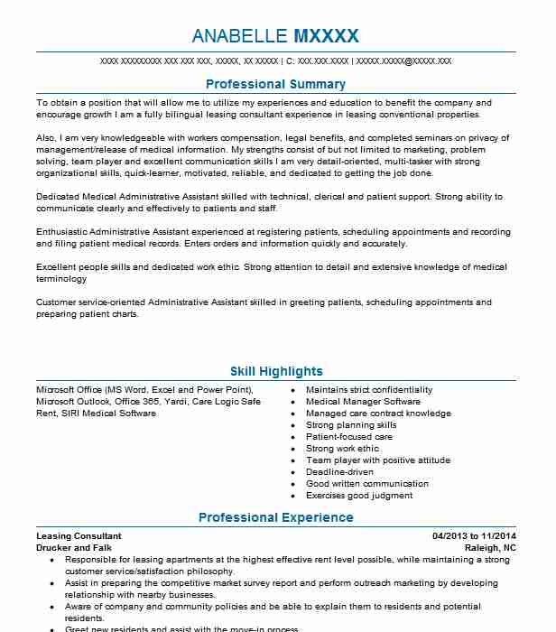 leasing consultant resume example greystar management
