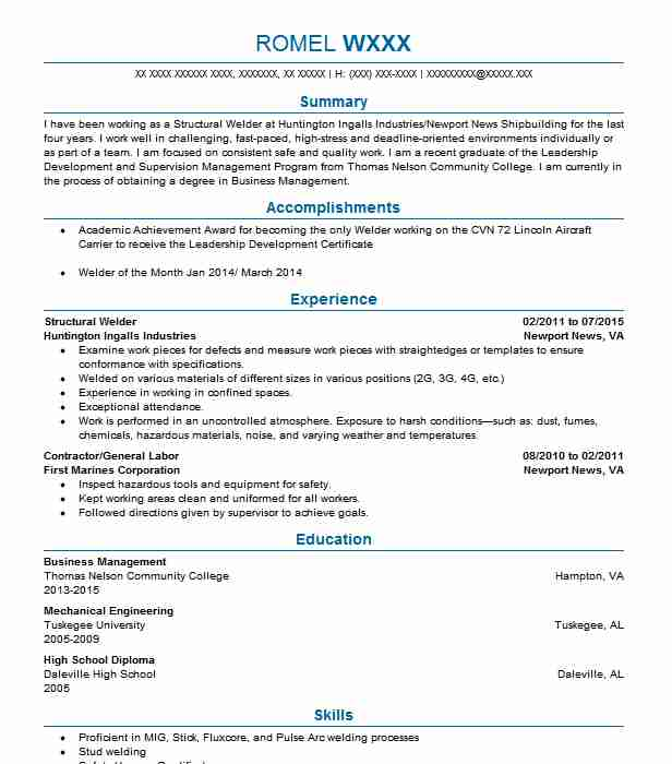 structural welder resume sample