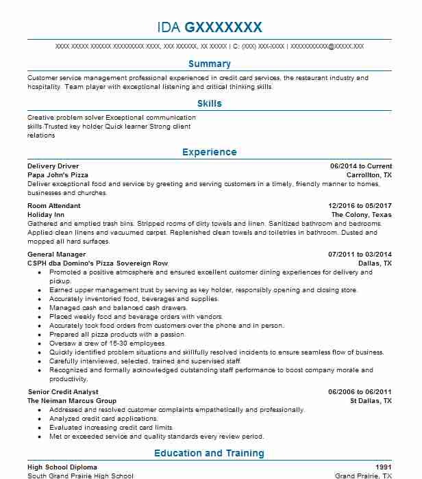 delivery driver resume sample