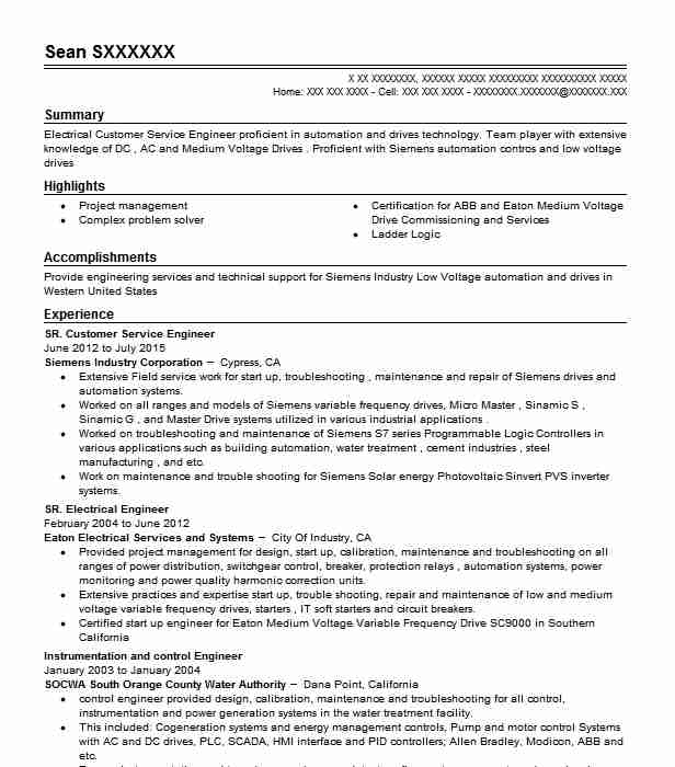 instrumentation and control engineer resume samples