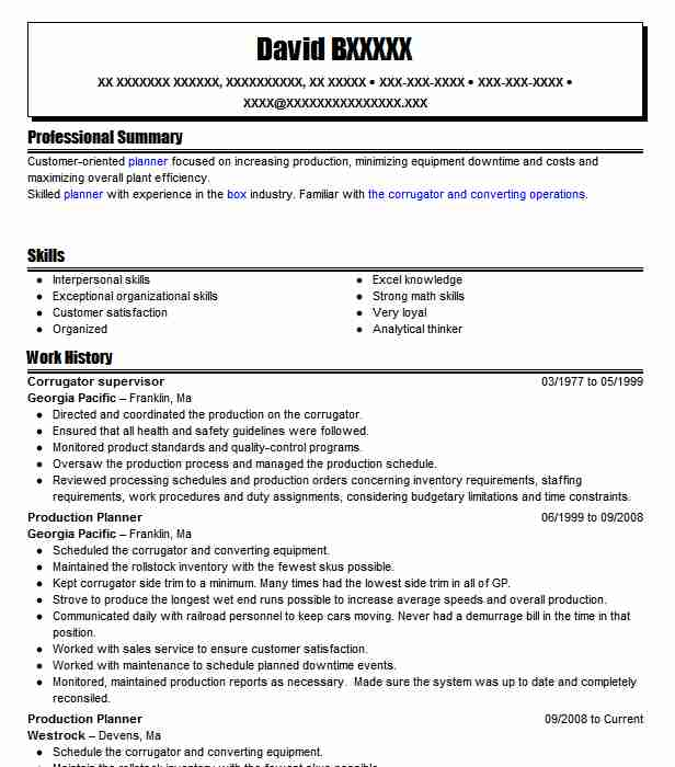 Corrugator Supervisor Resume Sample | Supervisor Resumes | LiveCareer