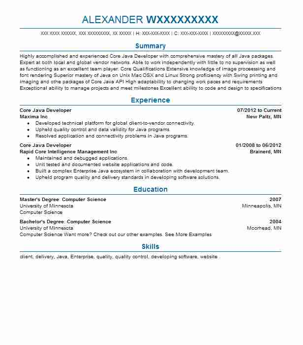 Core Java Developer Resume Example Developer Resumes Livecareer