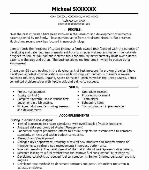 24 Nanotechnology Resume Examples in Texas | LiveCareer