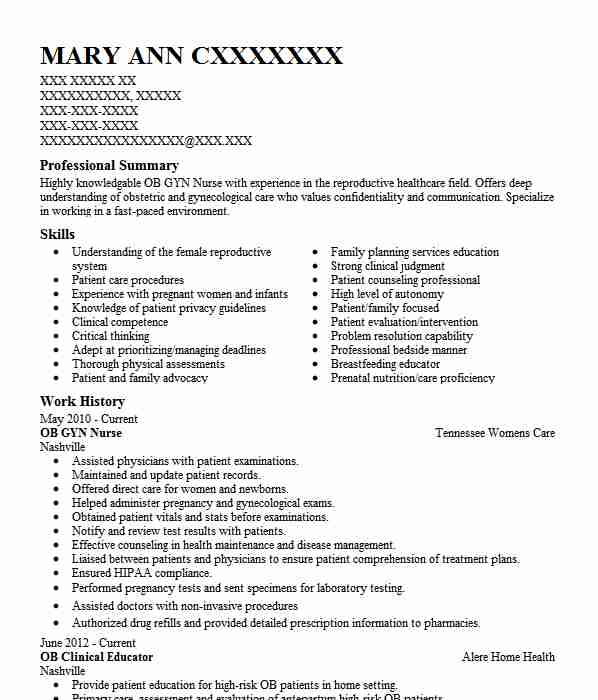 Sample Of Nursing Resume: Ob Gyn Nurse Resume Sample