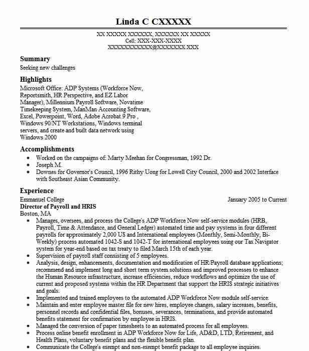 hris director resume example xerox business services  llc