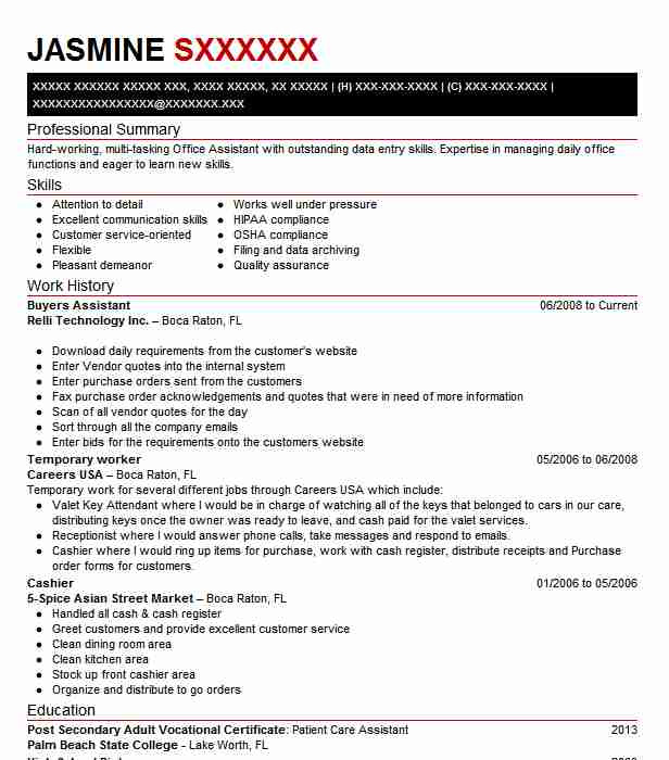 buyers assistant resume sample