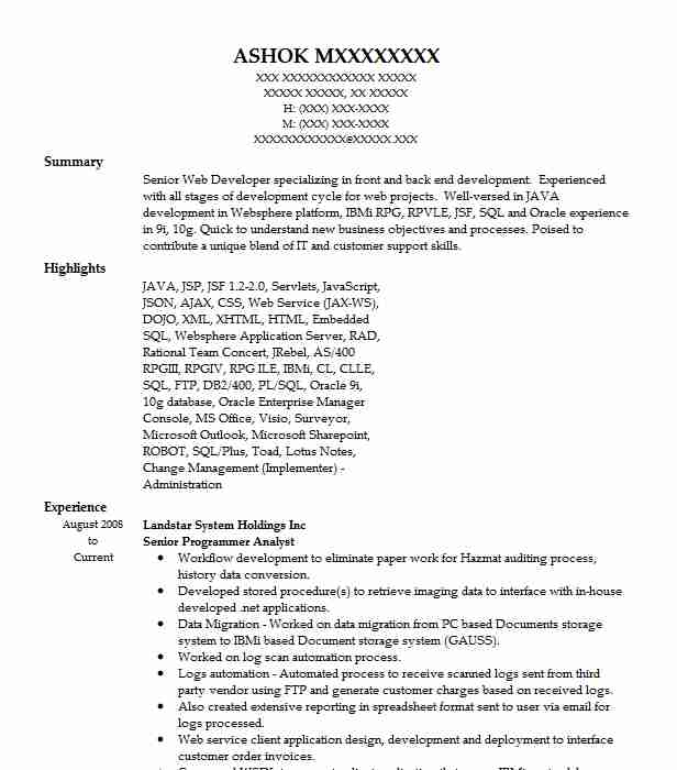 Senior Programmer Analyst Resume Example Wal Mart Stores