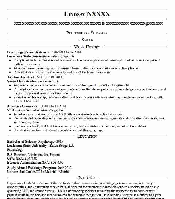 Psychology Research Assistant Resume Sample Livecareer