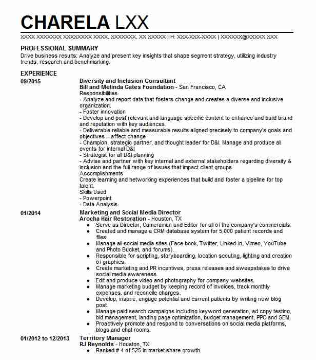 Diversity and inclusion manager resume