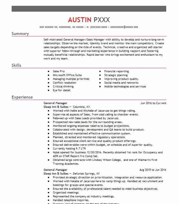 Create My Resume  Sample General Resume