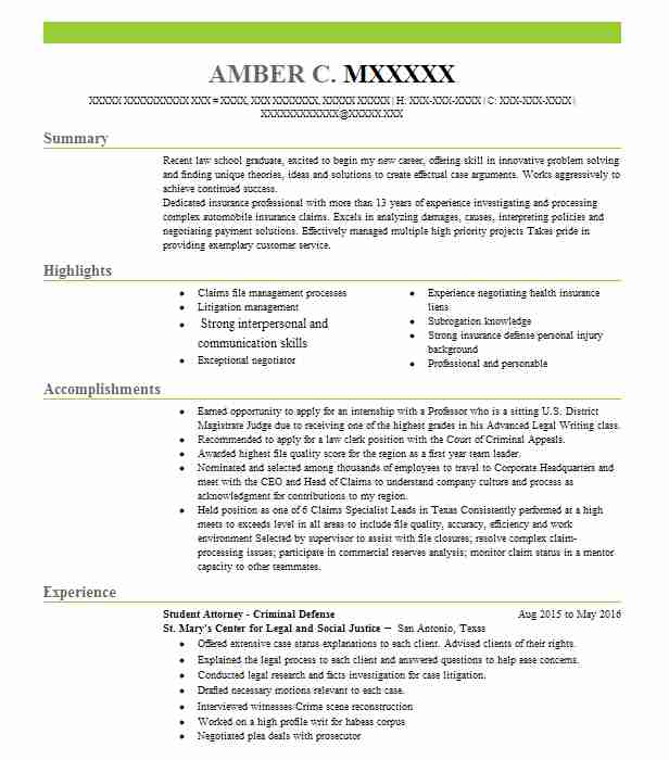 Criminal Defense Attorney Resume Example Bailey And Elliot