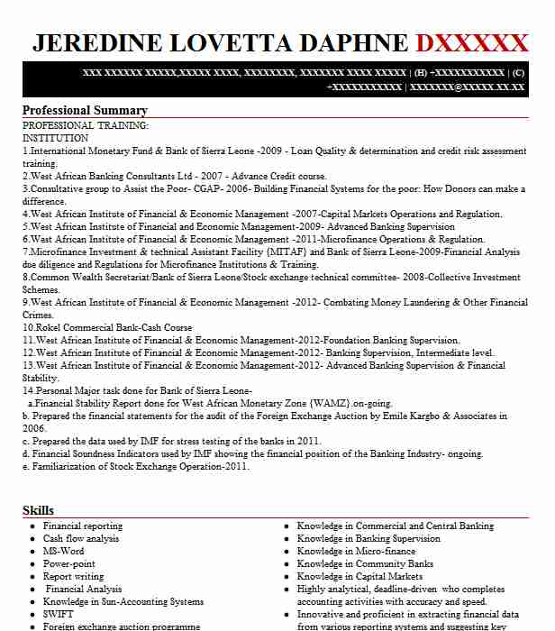 bank examiner resume sample