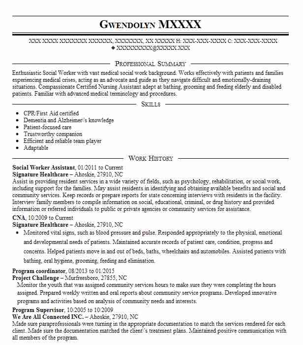 resume for social worker assistant