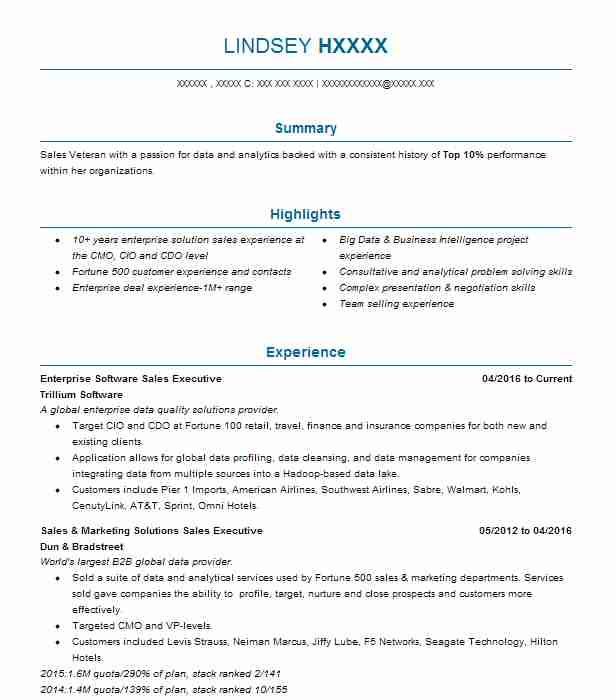 enterprise software sales representative resume example