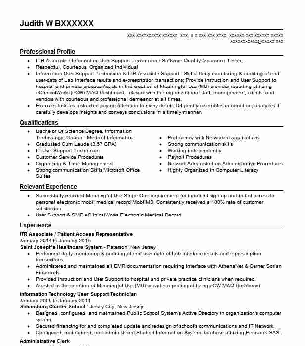 resume for patient access representative